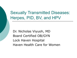 Sexually Transmitted Diseases: HPV, Herpes, Syphilis, and BV
