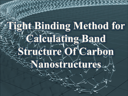 Tight binding method for calculating band structure of carbon