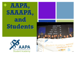 AAPA, SAAAPA & YOU - American Academy of Physician Assistants