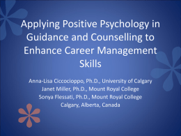 Applying Positive Psychology in Guidance and Counselling to
