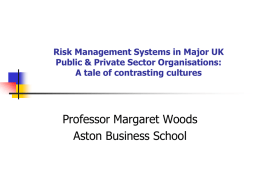 Case Study Comparisons of Risk Management Systems in Major