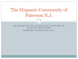 The Hispanic Community of Paterson N.J.