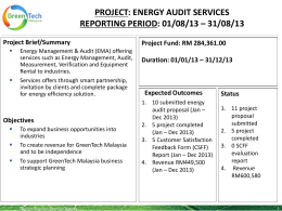 project: energy audit services reporting period: 01/08/13