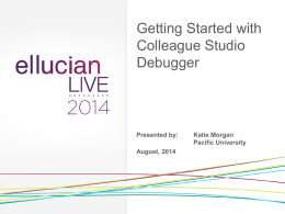 Getting Started with Colleague Studio Debugger