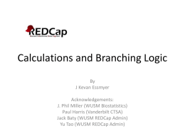 Calculations and Branching Logic in REDCap