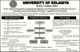 UNIVERSITY OF KELANIYA Department of Chemistry