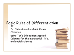 3.1 Basic Rules of Differentiation