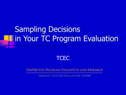 Sampling Decisions in your TC Program Evaluation