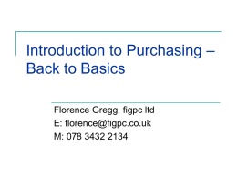 Introduction to Purchasing – Back to Basics