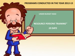 Resource Person Training