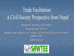 Trade Facilitation: A Nepalese Perspective