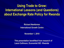 Problem of Exchange Rates - International Growth Centre