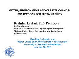 WATER, ENVIRONMENT AND CLIMATE CHANGE
