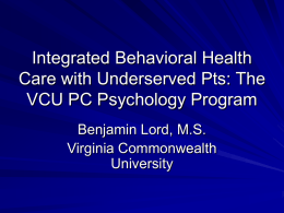 Integrated Behavioral Health Care with Underserved Patients