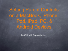 Setting Parent Controls on a MacBook, iPad, iPod