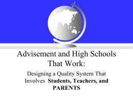 Advisement and High Schools That Work: Designing a Quality