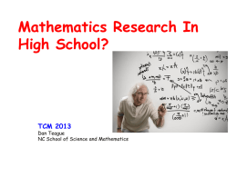 Mathematics Research In High School (TCM)