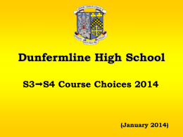 Dunfermline High School S3S4 Course Choices 2014