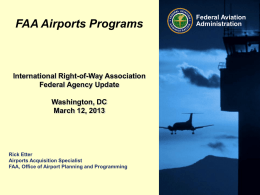 FAA Airport Programs - International Right of Way Association