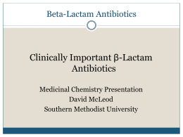 Beta-Lactam Antibiotics - Southern Methodist University