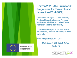 Horizon 2020 - the Framework Programme for Research
