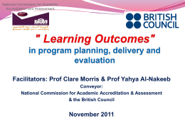 3. Program and courser learning outcomes based on NQF