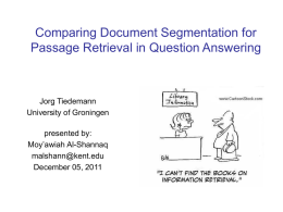 Comparing document Segmentation for Passage Retrieval in