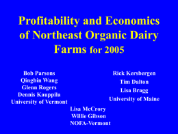 Profitability and Economics of Northeast Organic Dairy Farms for