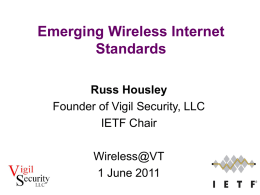 Emerging Wireless Internet Standards