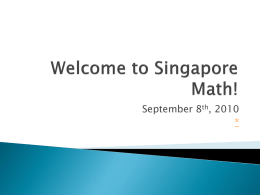 Welcome to Singapore Math!
