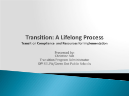 Tools for Developing a Comprehensive Transition Plan