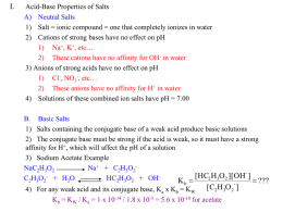pH of Salt Solutions and Buffers