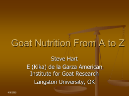 Goat Nutrition from A to Z, Langston University