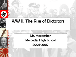 WW II: The Rise of Dictators