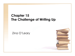 Chapter 15 The Challenge of Writing Up