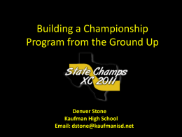 Building A Championship Program From The Ground Up By