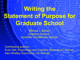 Writing the Statement of Purpose for Graduate