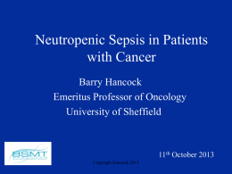 Neutropenic Sepsis in Cancer Patients