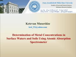 Determination of metal concentrations in surface waters and soils