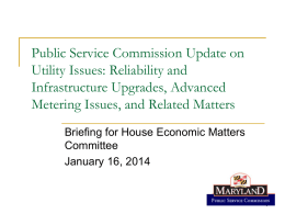 Reliability and Infrastructure Upgrades, Advanced Metering Issues