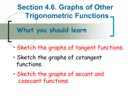 Section 4.6 Graphs of Other Trigonometric Functions