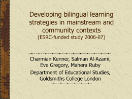 Developing bilingual learning strategies in mainstream