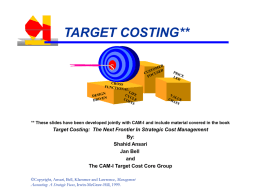 TARGET COSTING... What Is It?