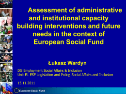 Assessment of administrative and institutional capacity building