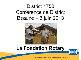 Fondation Rotary - Rotary International District 1750