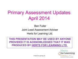 Primary assessment updates - April 2014