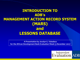 Introduction to ADB`S Management Action Record System (Mars)