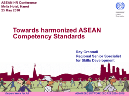 Towards harmonized ASEAN Competency Standards
