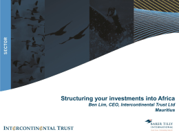 14 - Structuring Your Investments into Africa