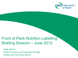 Front of Pack labelling consultation DOH 2012